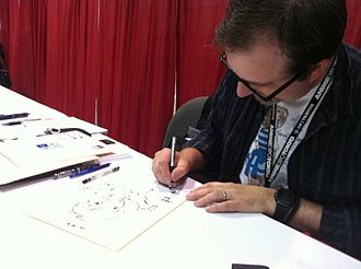 Fred Gallagher (cartoonist) - Fred Gallagher sketching at an autograph booth at Anime Expo 2011.
