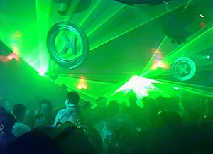 Superclub - Lights pulse at a Godskitchen dance event