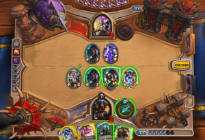 Gameplay of Hearthstone - An example of gameplay in Hearthstone. Players use cards from their hand to interact with the game board