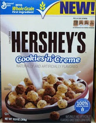 Hershey's Cookies 'n' Creme - A box of Hershey's Cookies 'n' Creme cereal at a convenience store.