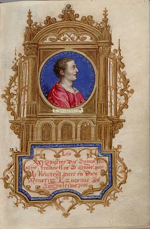 Octavien de Saint-Gelais - Frontispiece to a manuscript of Octavien's translation of Ovid's Heroides (Huntington Library, MS HM 60, folio 1r).