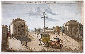 Turnpike trusts - The Hyde Park Gate in London, erected by the Kensington Turnpike Trust.  This was the first toll point encountered along the Bath Road, upon leaving London.