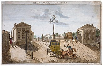 Stagecoach - A carriage (not a stagecoach) is pulled away from Hyde Park Gate in London which was erected by the Kensington Turnpike Trust. These trusts helped to stimulate a sustained period of road improvement in the 18th century.