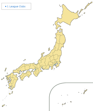 Geographic location of fourteen J.League clubs in 1995.