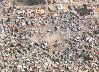 Battle of Jenin - Aerial photograph of the area demolished in the Jenin camp's central Hawashin district.
