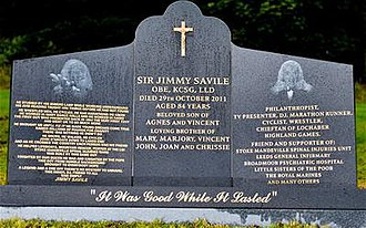 Jimmy Savile - Savile's ornate black granite and steel headstone was unveiled on 20 September 2012 and stood for just 19 days.