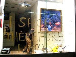 "Peter Kennard - Kennard's ""Photo Op"" work seen in Santa's Grotto exhibition, London (2011)"
