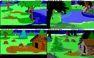 "King's Quest I - Identical places in the AGI (left, 1984–1987) and ""Enhanced"" SCI (right, 1990) versions of the game"
