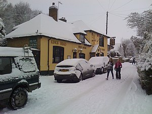 Kingsdown, Kent - Looking up Upper Street towards the Kings Head pub after a heavy snowfall