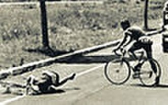 Knud Enemark Jensen - Jensen lying in the road after his fall.