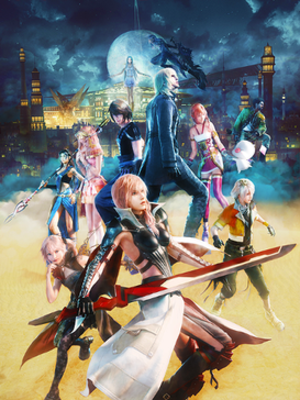 Characters of the Final Fantasy XIII series - Promotional artwork featuring the main cast of the Final Fantasy XIII games. Top from left: Paddra Nsu-Yeul, Caius Ballad, Oerba Yun Fang, Oerba Dia Vanille, Noel Kreiss, Snow Villiers, Serah Farron, Mog, Sazh Katzroy, Lumina, Lightning and Hope Estheim.