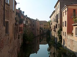 Houses on a canal in Mantua.