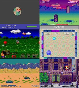 "Screenshots of six minigames (clockwise): a black screen with visible circle showing bugs eating a pizza; a purple, blue, and green space setting with craters and coffin-shaped pods reveal aliens; two-tone rectangles form a rectangle around a puck and a controllable mallet against a psychedelic backdrop; a street scene shows an brownstone apartment building with a ""BANG"" explosion in a window; a desert setting with mountain backdrop has green tanks and armored vehicles in the foreground; a tomato hurtles towards characters in a vivid and colorful field"