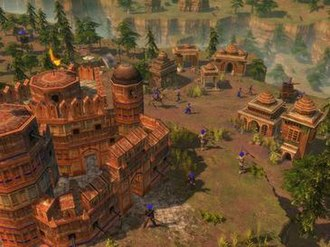 Age of Empires III: The Asian Dynasties - An Age of Empires III: The Asian Dynasties screenshot, featuring the Indian Agra Fort wonder.