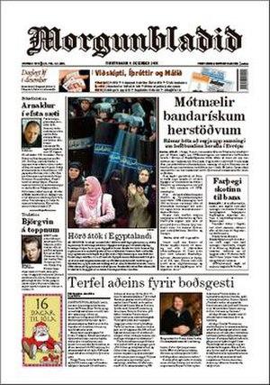 Morgunblaðið - Image: Morgunbladid frontpage