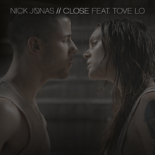 The single's two artists, Nick Jonas and Tove Lo, stare at each other, both sweaty and appear to be emotional over an issue