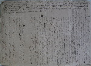 "Antonio Rivero - Ventura Pasos correspondence with Luis Vernet regarding the Lexington Raid. Vernet has added the annotation in his own hand ""Don Ventura Pasos was a nephew of the distinguished Argentine Don Juan Jose Pasos who, with senores Chiclana and Saavedra, formed the Triumvirate which governed in the early part of the emancipation from Spain His eldest sister is married to the eldest brother of my wife Colonel Don Domingo Saez – Don Ventura and my other agents were murdered in Aug 1833 by some Indians mentioned by him in the above letter and some runaway sailors. Don Ventura was one of the principal settlers at Port Louis""."