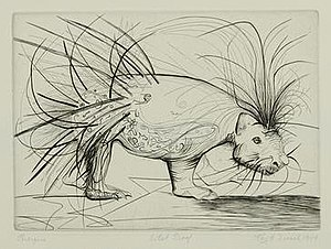 Ray H. French -  Porcupine, Engraving, 1949