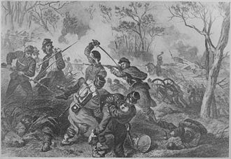 Siege of Port Hudson - A Fierce Assault on Port Hudson, Newspaper illustration of the attacks on the fortifications of Port Hudson. National Archive