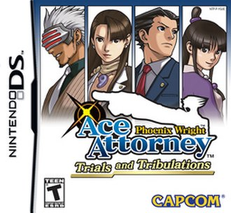 Phoenix Wright: Ace Attorney − Trials and Tribulations - North American cover art, featuring (left to right) Godot, Mia, Phoenix, and Maya