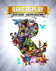 "Portrait-oriented cover art with gradient from white to gray outward from the center with explosive/glare streaks. Atop is a golden banner with ""RARE REPLAY"" emblazoned in white, and below it, a smaller gray banner with black text: ""30 HIT GAMES · ONE EPIC COLLECTION"". In the center and occupying most of the image is a large cutout of the company's R rotunda logo, out of which come characters from the series, including Joanna Dark, Banjo and Kazooie, Conker, Sabreman, a piñata, and many others."