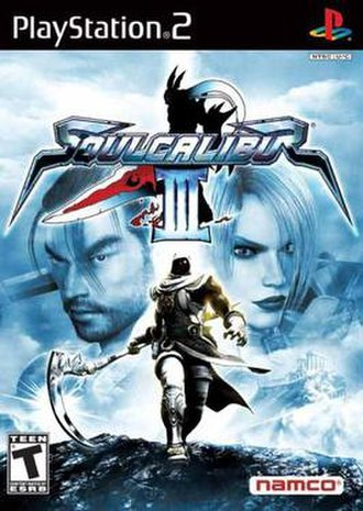 Soulcalibur III - NTSC box art for the game, depicting characters Mitsurugi and Ivy in the background, Zasalamel in the front, and Nightmare in the logo