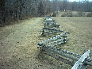 19th Tennessee Infantry - The Hornets Nest at Shiloh. The Sunken Road is the feature to the left of the snakerail fence. Confederate forces attacked Union forces from across a large field to the right.