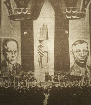 George A. Nelson - Huge banners of Socialist candidates Norman Thomas and George Nelson flanked the rostrum at the final rally of the 1936 campaign, held at Madison Square Garden.