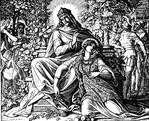 Depiction of Solomon and Pharaoh's daughter re...