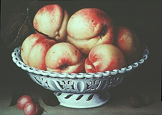 Fede Galizia - Peaches in a pierced white faience basket (1578-1630).