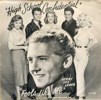 High School Confidential (Jerry Lee Lewis song) - Image: Sun 296a sleeve