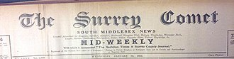 Surrey Comet - The mid-weekly Surrey Comet masthead from 1934 showing the incorporation of The Surbiton Times and Surrey County Journal. The paper at this time covered Hampton Wick, Wimbledon, Cheam, Teddington and Twickenham