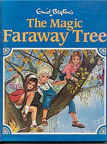 A blue book with the gold words The Magic Faraway Tree at the top, with three children on a tree on the picture.