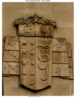 Titche-Goettinger Building - The 96,000 pound cartouche is a prominent feature of the 1955 addition.