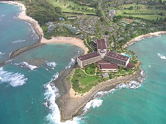 Turtle Bay Resort - View of resort from helicopter