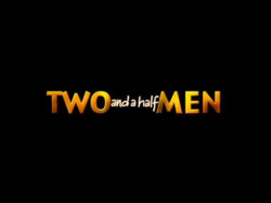 "The show title card with the words TWO and MEN in yellow block letters and the words ""and a half"" squeezed in between them in white cursive letters."