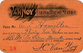 """Van Noy Railway News and Hotel Company - Meal ticket issued to employee of Missouri Pacific Railway, authorizing purchase of meals at special discounted """"railroad rate"""" of thirty five cents, at all Van Noy dining rooms located along the Missouri Pacific and Iron Mountain Railways."""