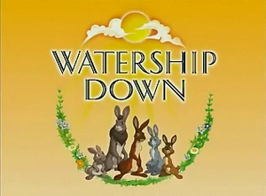 Watership Down (TV series) - The Watership Down title card. From left to right: Pipkin, Bigwig, Hazel, Blackberry, and Fiver.