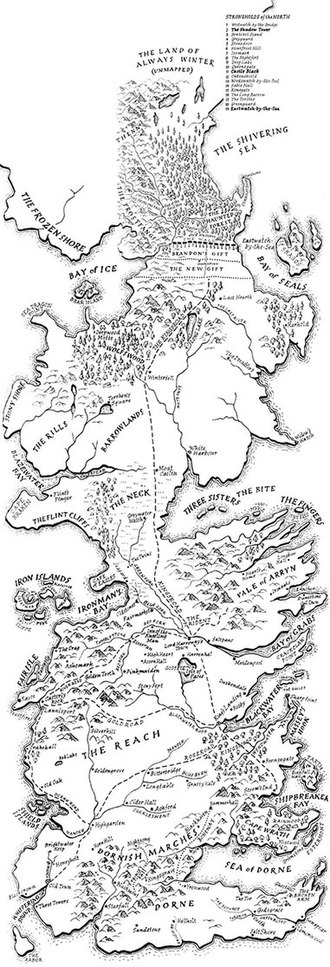 World of A Song of Ice and Fire - A map of the Westeros continent