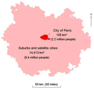 Limits of the metropolitan area (aire urbaine) of Paris in 1999, with the city of Paris in red at the center. Population figures are for 2005.