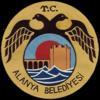 Темно-желтое круглое уплотнение с меньшим кругом внутри него, которая изображает укрепленную башню и стену за синие волнами.  Меньший круг окружен черной двуглавой птицы с текстом TC выше и ниже Алании Belediyesi.
