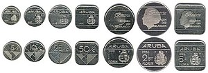 Aruban florin - The Aruban florin coins, from left to right: 5, 10, 25, 50 cents and 1, 2½ and 5 florin, before 2005