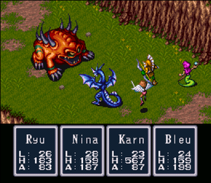 Breath of Fire (video game) - A battle in Breath of Fire