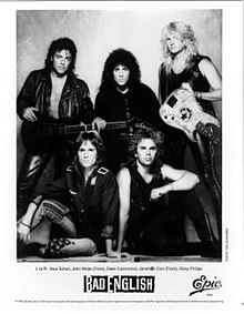 Bad English, clockwise L-to-R: Neal Schon, Deen Castronovo, Ricky Phillips, Jonathan Cain, and John Waite