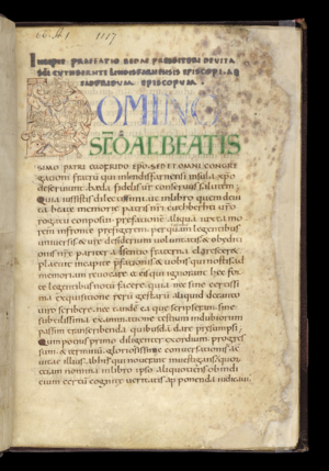 Bertram Colgrave - Colgrave's annotated translation of Bede's 7th century prose Life of St Cuthbert was published in 1940. Title page of 10th-century manuscript in British Library with animal heads and plant motifs in first illuminated letter.