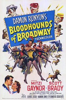 Mitzi Gaynor and the cast (including bloodhounds) in the theatrical release poster for Bloodhounds of Broadway