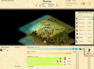 Civilization (series) - A representative city management screen, from Civilization III. The player can see what resources each space controlled by the city produces, the city improvements and units in the city, reallocate resources, and assign new production targets.