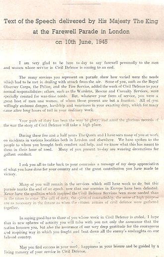 Civil Defence Service - Text of King's speech to Civil Defence Service volunteers 1945.
