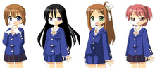 The four main characters in a prototype art style. The art is notably less refined, resembling older visual novels.