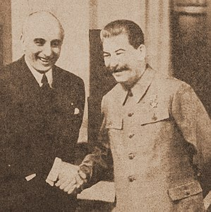 "Joseph E. Davies - Davies with Soviet leader Joseph Stalin during his second ""Mission to Moscow,"" May 1943."
